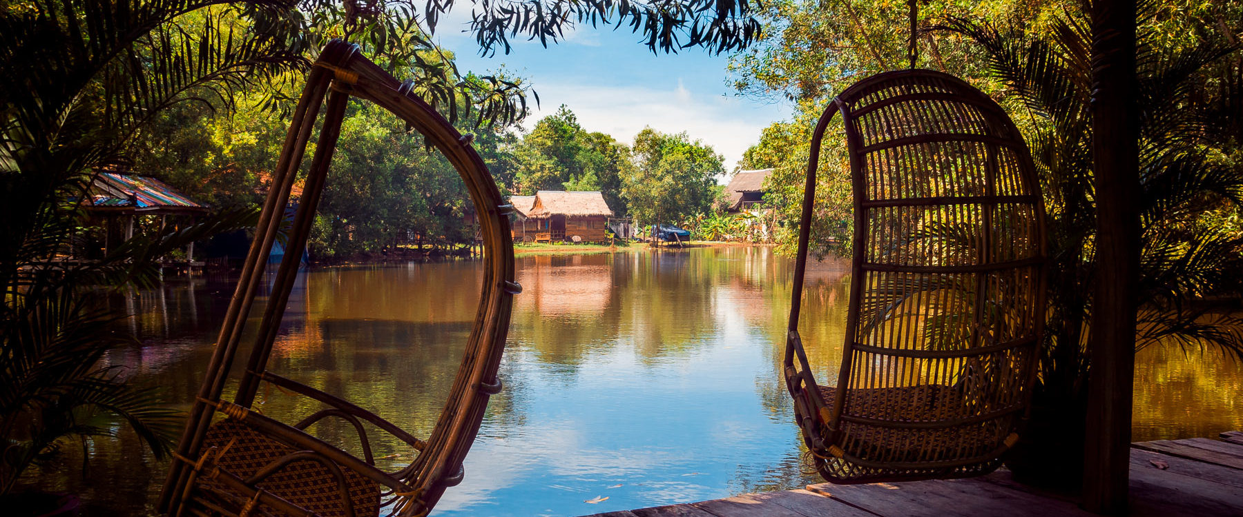Relaxing area in the resort restaurant facing the Otres River at natural vegetation in Sok Sabay Resort, Otres Village - Cambodia.
