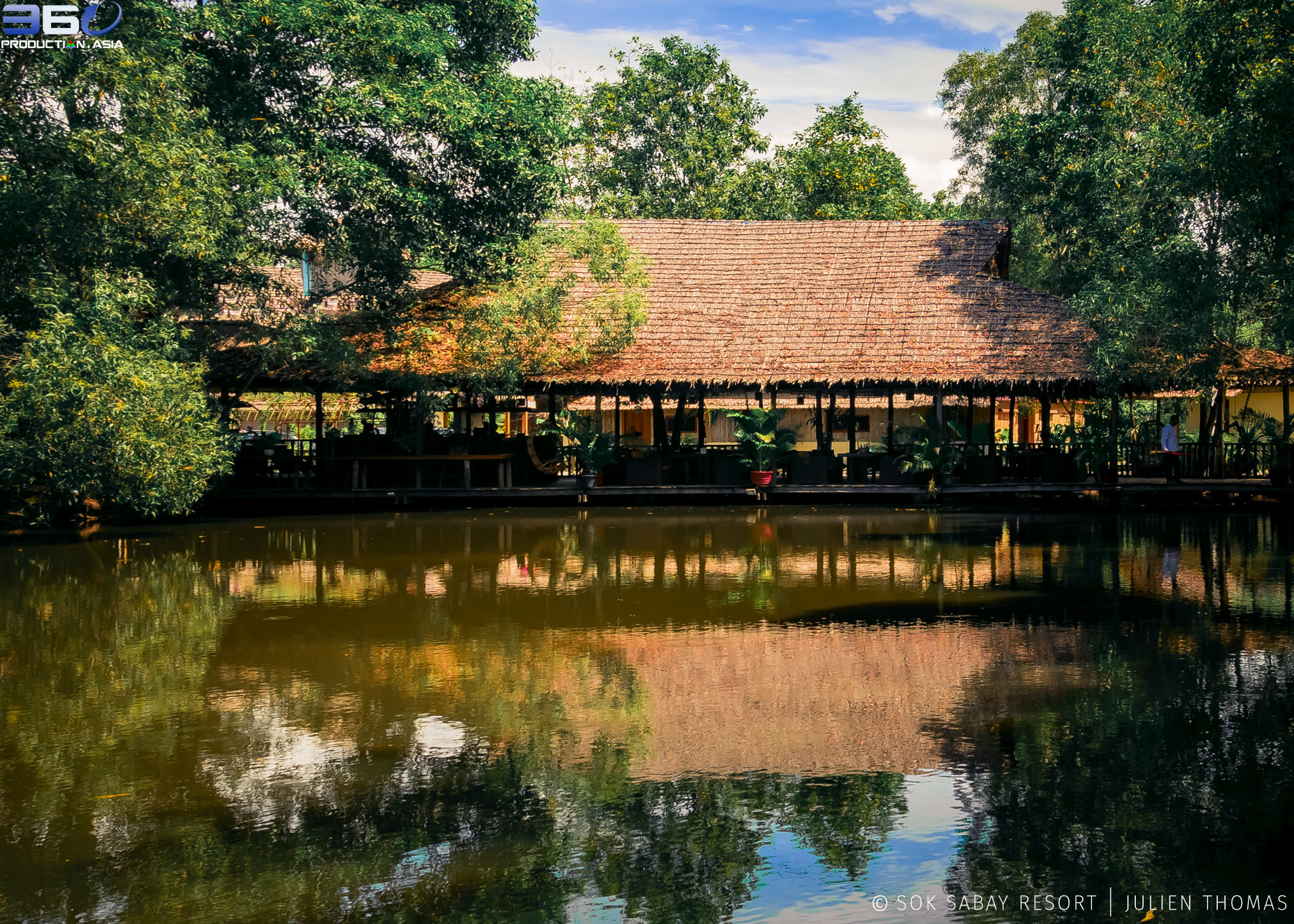 Restaurant area surrounded by natural tropical vegetation and facing the Otres River in Sok Sabay Resort, Otres Village.