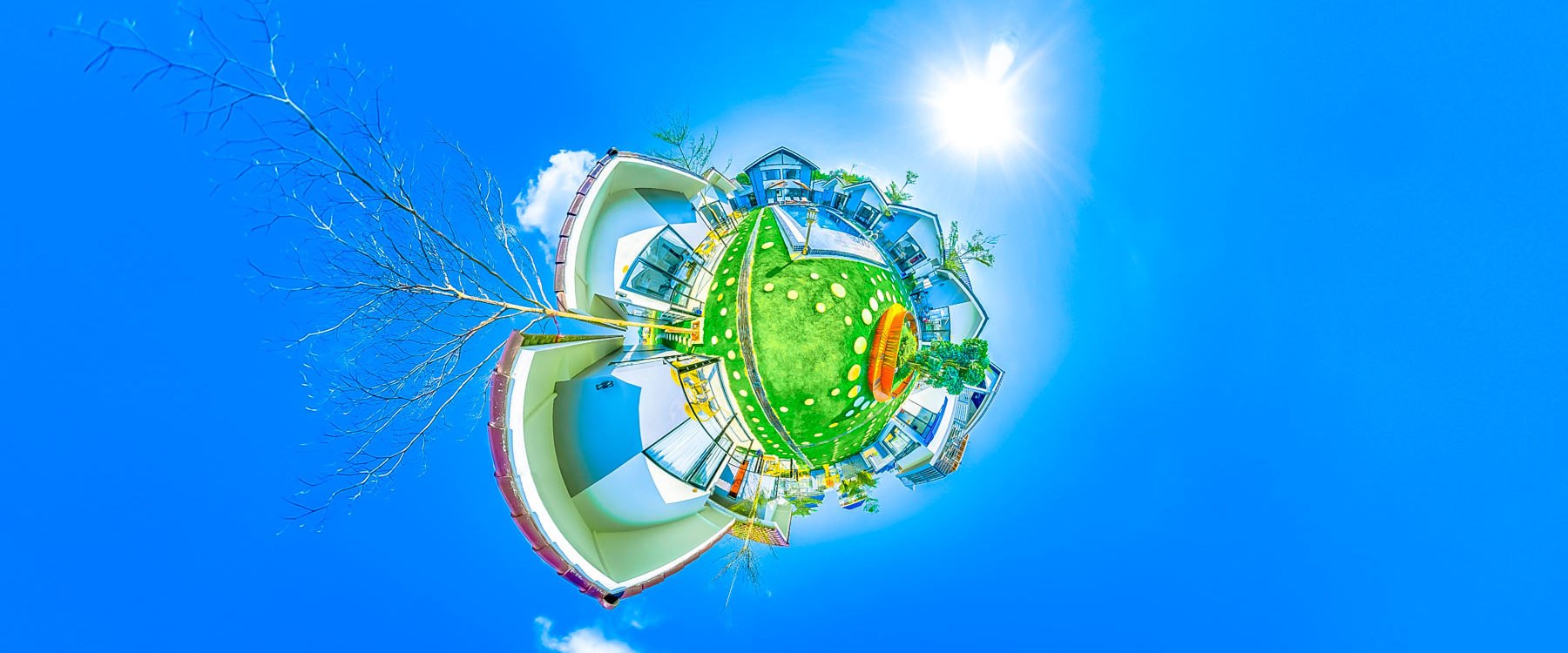 Hotel overview with the rooms to rent and the swimming pool garden area in Sandy Clay Bungalows, Otres Village | Spherical 360 Photography.