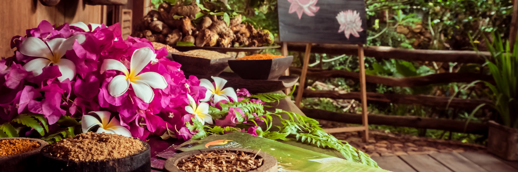 Decorated Spa entrance with flowers and massage commodities near a garden in Veranda Natural Resort, Kep - Cambodia.