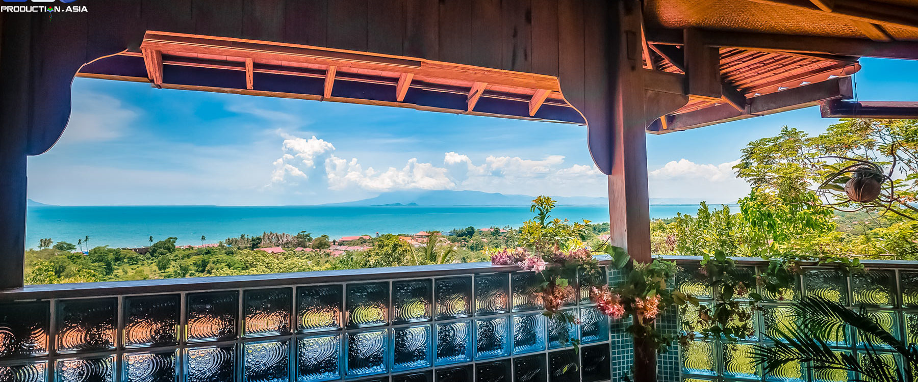 Villa Penthouse Bungalow private terrace and view to the Gulf of Thailand - Pacific Ocean in Veranda Natural Resort, Kep - Cambodia.