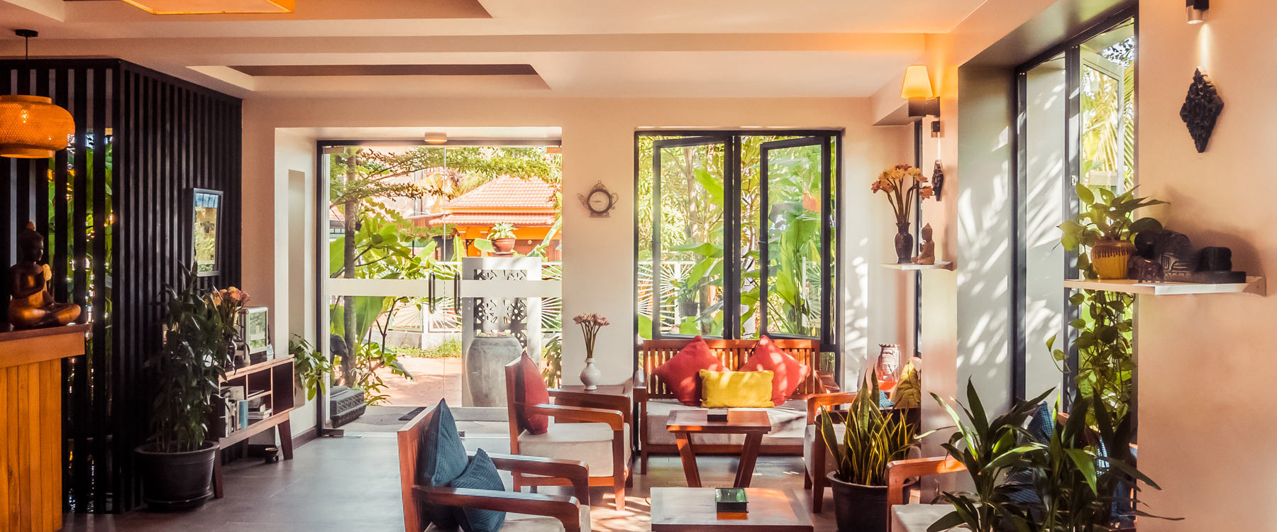 Bright lobby area fully furnished for the guests arrival and welcoming in a high standing hotel - luxury Advaya Residence in Siem Reap, Cambodia.