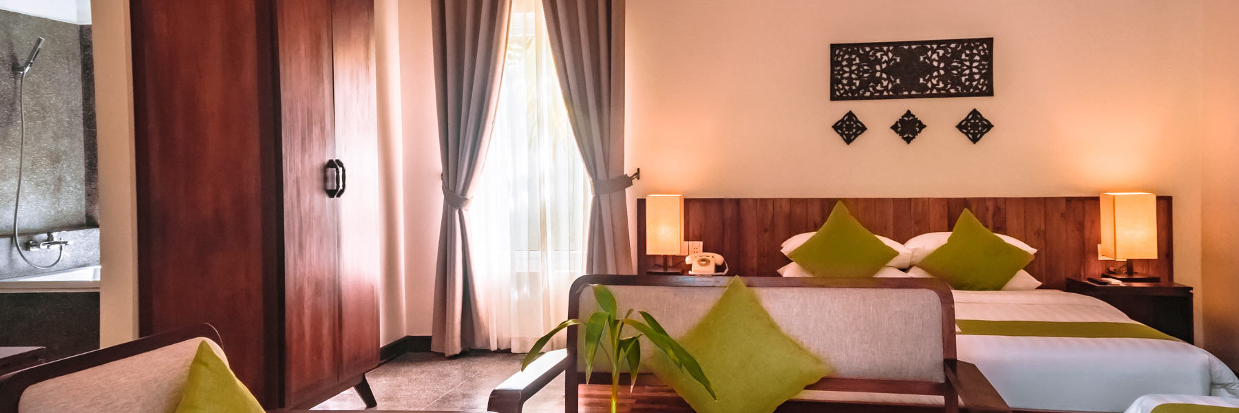 Advaya Residence in Siem Reap - Cambodia. King Suite Family Room, accommodation fully furnished with private bathroom, king size bed, wardrobe, air conditioner.
