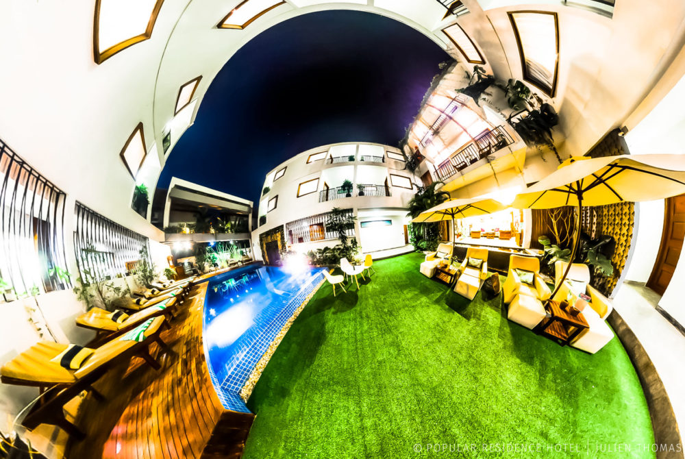 Hotel overview with the rooms to rent and the swimming pool garden area in Popular Residence Hotel, Siem Reap | Spherical 360 Photography.