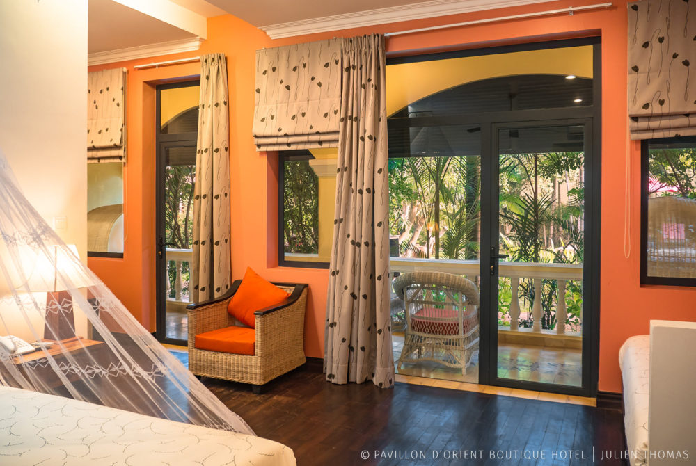 Double room with private balcony facing the hotel garden in Pavillon d'Orient Boutique, Siem Reap - Cambodia.