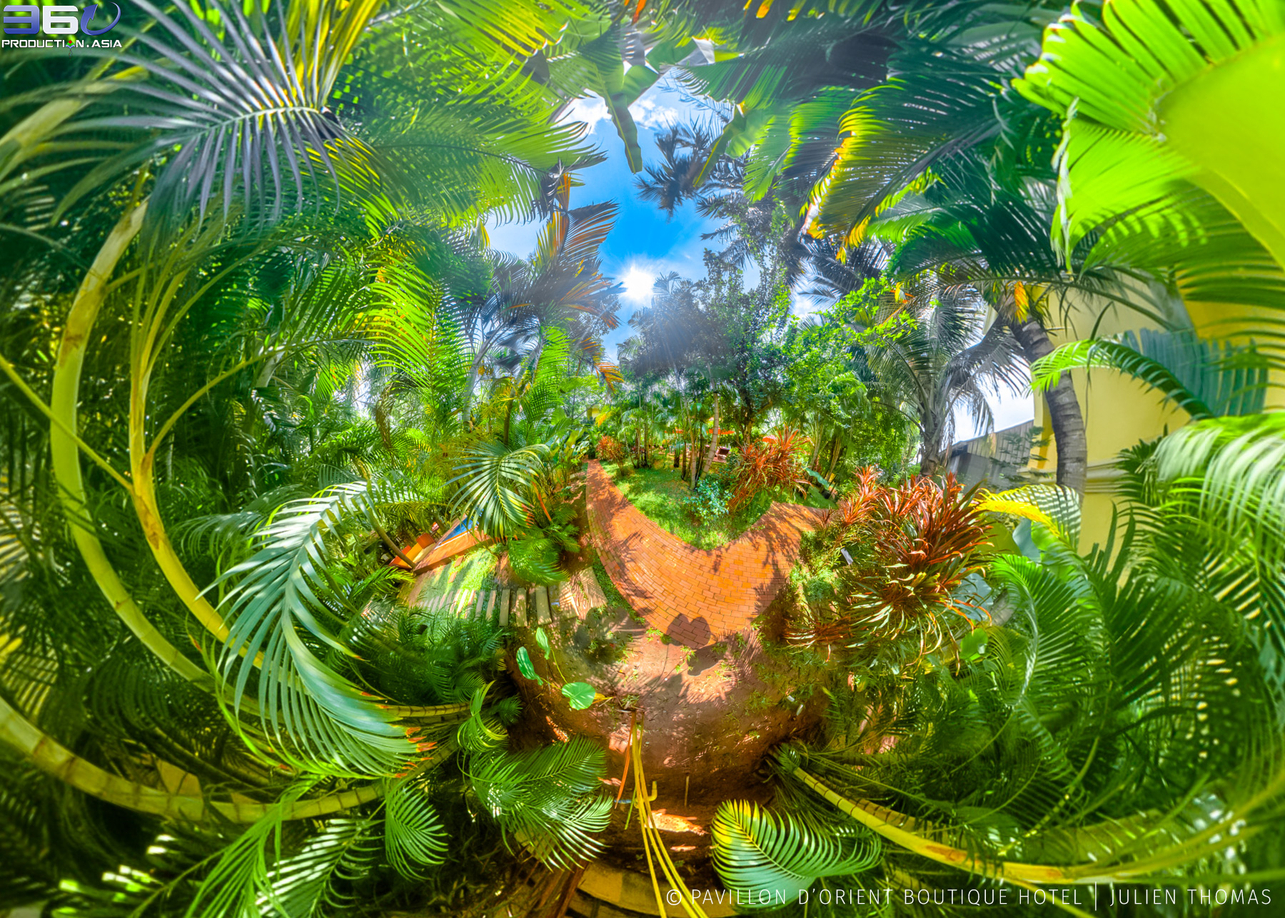 Mini World projection from 360 photo sphere in garden area at Pavillon d'Orient Boutique Hotel, Siem Reap - Cambodia.