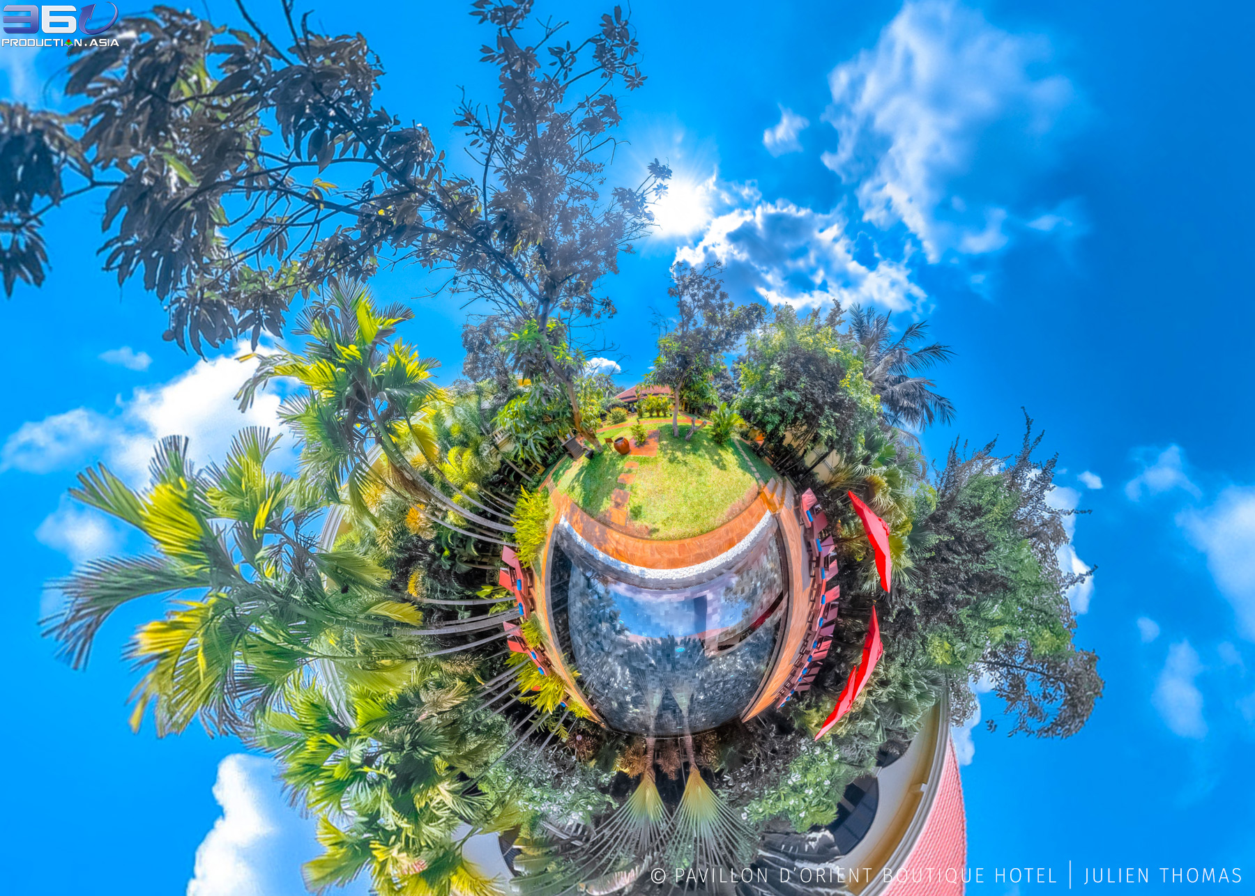 Mini World projection from 360 photo sphere in the garden and swimming pool area at Pavillon d'Orient Boutique Hotel, Siem Reap - Cambodia.