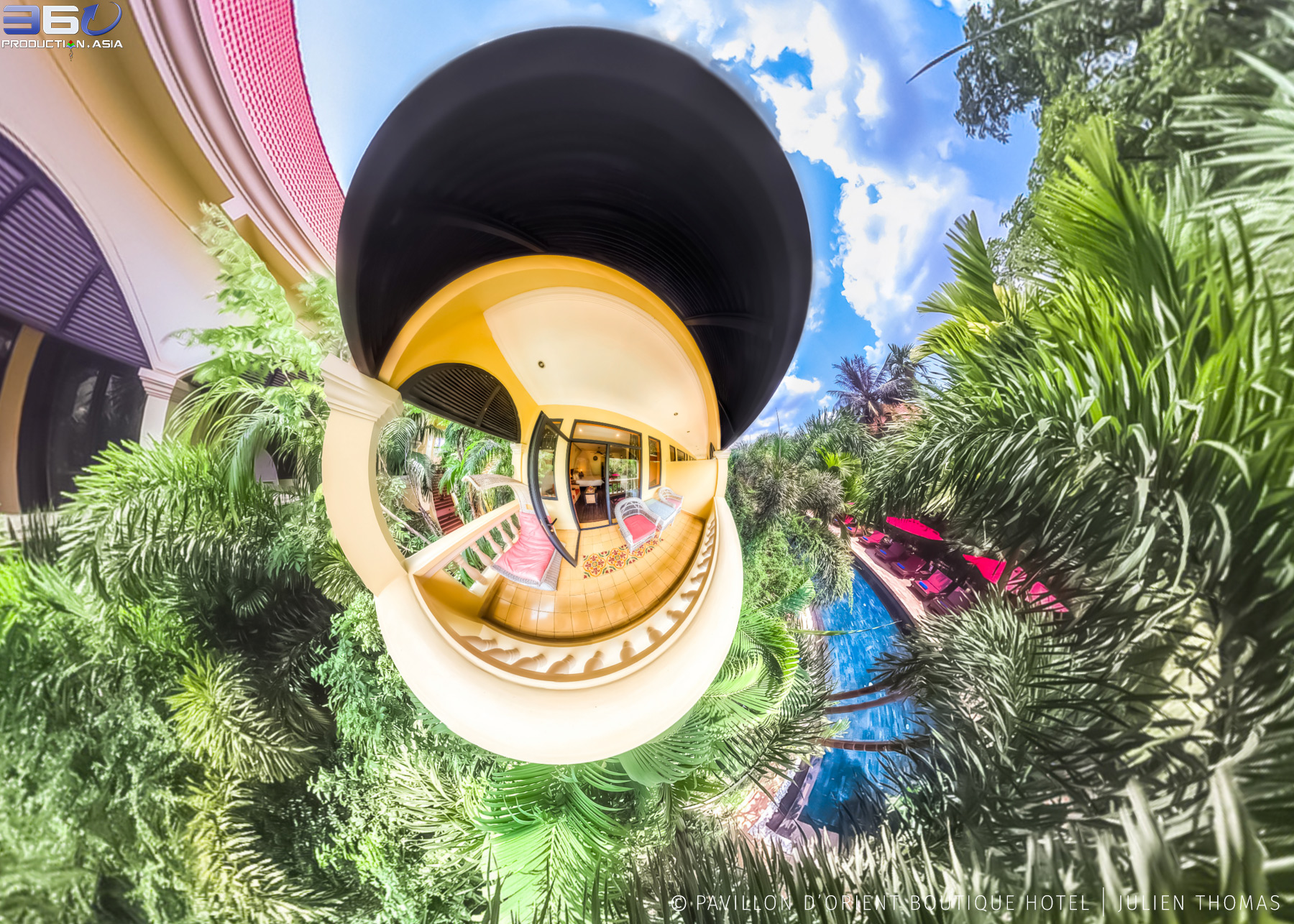 Mini World projection from 360 photo sphere in the room balcony facing the swimming pool area at Pavillon d'Orient Boutique Hotel, Siem Reap - Cambodia.