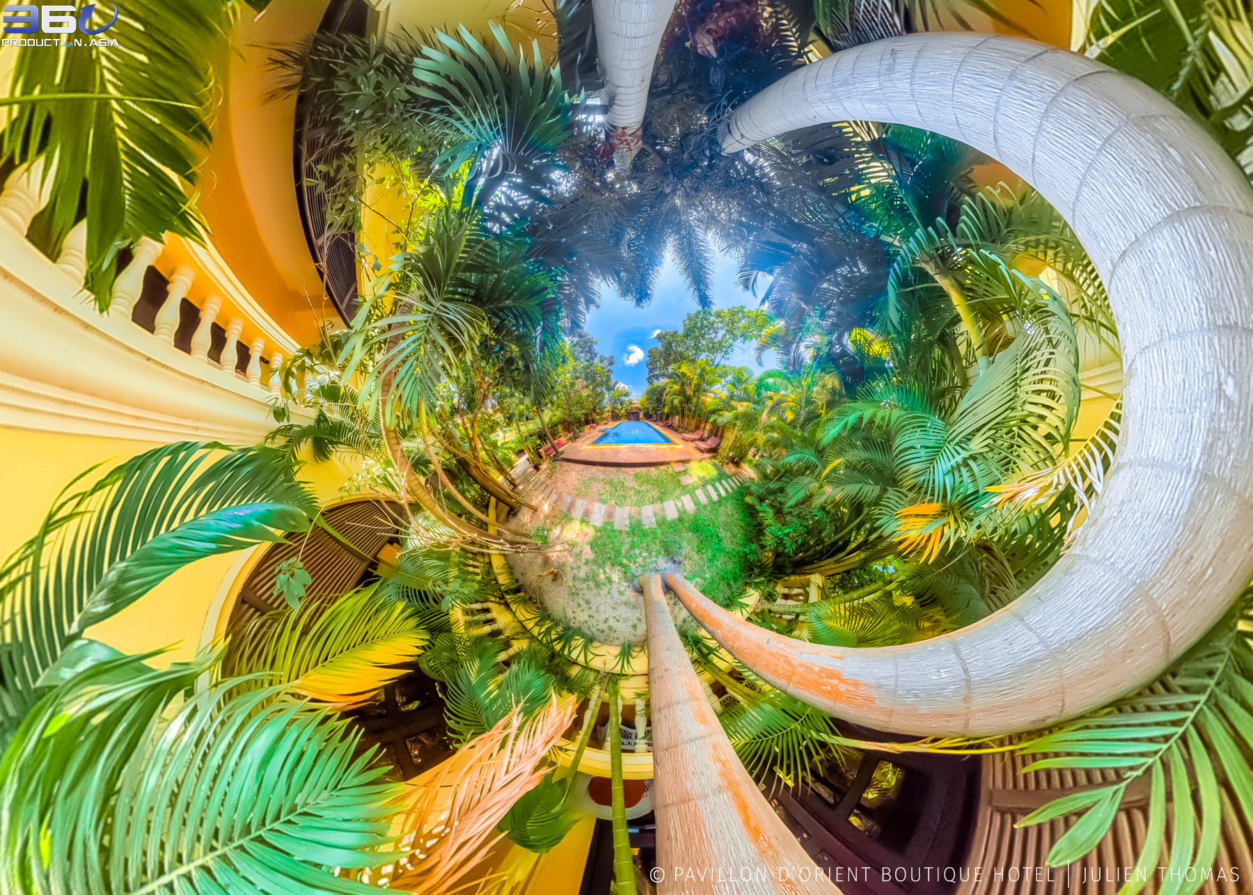 Mini World projection from 360 photo sphere in the garden walk way at Pavillon d'Orient Boutique Hotel, Siem Reap - Cambodia.